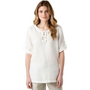 Ellen Tracy Chalk White Lace-Up Tunic Top